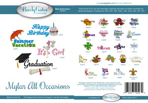 Purely Gates PG5134 Mylar All Occasions Embroidery Designs CD