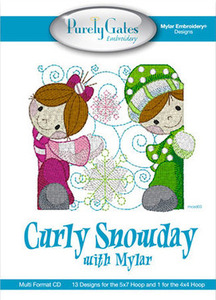 Purely Gates PG5127 Curly Snowday with Mylar Embroidery Designs CD