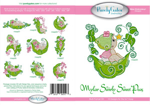 Purely Gates PG5103 Mylar Swirly Sweet Peas Embroidery Designs CD