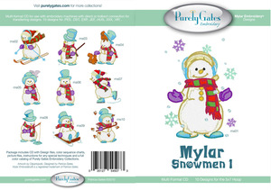Purely Gates PG5073 Mylar Snowmen 1 Embroidery Designs CD