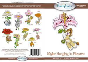 Purely Gates PG5066 Mylar Hanging in Flowers Embroidery Designs CD