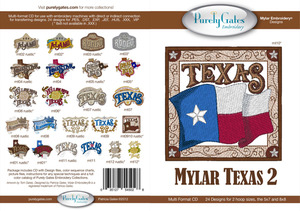 Purely Gates PG5028 Mylar Texas 2 Embroidery Designs CD