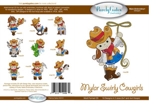 Purely Gates PG4984 Mylar Swirly Cowgirls Embroidery Designs CD