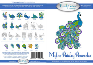 Purely Gates PG4953 Mylar Paisley Peacocks Embroidery Designs CD