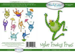Purely Gates PG4939 Mylar Freaky Frogs Embroidery Designs CD
