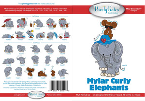 Purely Gates PG4908 Mylar Curly Elephants Embroidery Designs CD