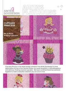 Anita Goodesign 277AGHD Cupcake Princess Mix & Match Quilting 20 Blocks Collection CD