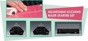 "Sew Steady WRStarterSet Westalee Adjustable Locking Ruler Starter Set, 3 Rulers: 18x6.5"", 6"": Straight, 1/4 Sq Triangle, & 1/2 Sq Triangle"