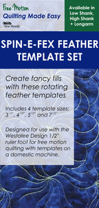 Sew Steady Westalee WT-SFXF Set Spin-e-fex Feather Templates Set of 4