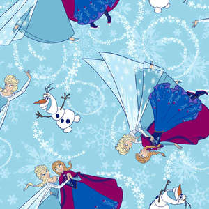 Disney Frozen Ice Skating Toss Glitter Blue Fabric by the Yard 533221600715 Springs Mills