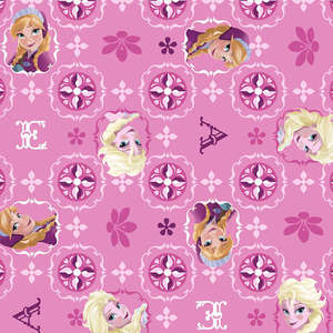 Disney Frozen Elsa & Ana Patch Glitter Patch Pink Fabric by the Yard 51872C470715 Springs Mills