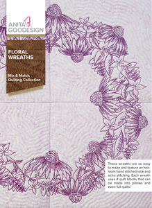 Anita Goodesign 281AGHD Floral Wreaths Mix & Matching Quilting Collection