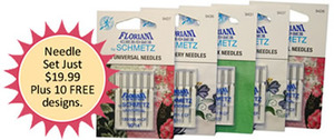 Floriani 25 Schmetz Chrome Needles 5ea: Emb 11/14, Universal 12/14, Microtex 70/10
