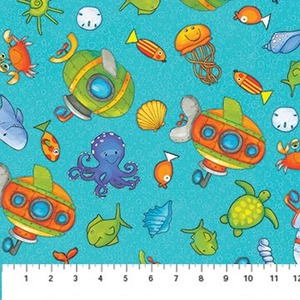 Northcott 20725-63 Baby Zoom Submarine cotton fabric by the yard