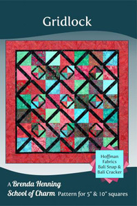 "Bear Paw BPP050  Gridlock Pattern Charm Pattern for 5"" or 10"" squares"