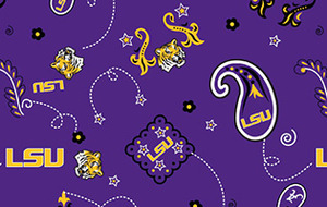 Sykel LSU-027 College Prints 100% cotton by the yard