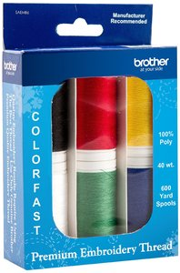Brother SAEMB6 6x600Yd Spools Premium Embroidery Poly Thread 40wt, Red, Green, Yellow, Blue, White, Black