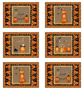 Cheeky Pumpkins Set of 6 Place Mats quilt kit by Studio E