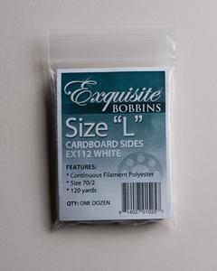 Exquisite EX112 White Style L Cardboard Bobbins (12 per pack)