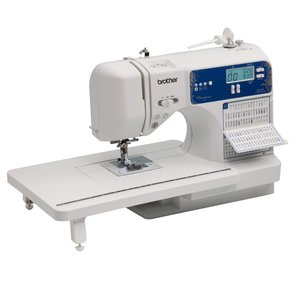 Brother DZ2750 Designio 185 Stitch Computer Sewing Quilting Machine, 130 Sewing +55 Alphanumeric, 8x 1-Step Buttonholes, Hard Case, Ext Table, 13 Feet