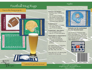 Amelie Scott Designs ASD206 Football Mug Rug Embroidery Designs CD