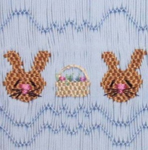 Pat Garretson PG119 Bunnies Baskets Smocking Plate