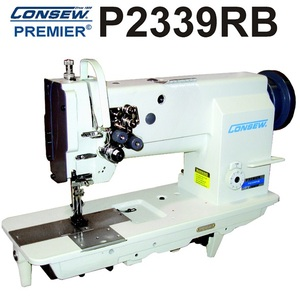 "Consew Premier P2339RB 1/4"" Gauge Double/Two Needle Feed Walking Foot Lockstitch Sewing Machine with Assembled Table, Stand, and Motor"