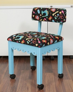 Arrow 7019B Blue Sewing Chair, Riley Blake Sewing Notions Pattern on Black Fabric