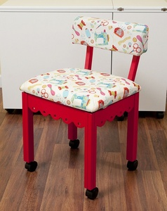 Arrow 7016W Red Sewing Chair, Riley Blake Sewing Notions Fabric White