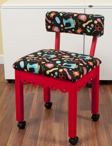 Arrow 7016B Red Sewing Chair, Riley Blake Sewing Notions Fabric Black