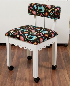 Arrow 7011B White Sewing Chair with Riley Blake Fabric on Black Background