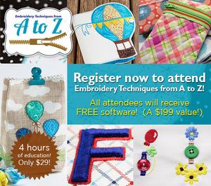 Tamara Evans A-Z Embroidery Techniques, Sat April 23, 10am-2pm Baton Rouge , Free $199 Stitched Snapshot Software plus Star Bright Design Collection