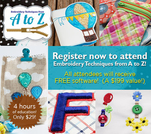 Tamara Evans A-Z Embroidery Techniques, Fri April 29, 10-2pm, Lake Charles, Free $199 Stitched Snapshot Software plus Star Bright Design Collection