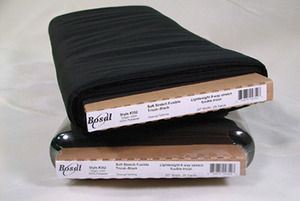 "Bosal, BOS352, Soft, Fusible, 8-way, Stretch, Tricot, in White, 100 polyester, Black, For Spandex, Lycra, 20""x25Yard Bolt"