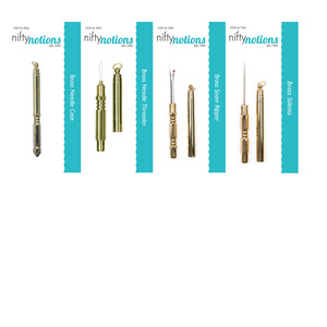 Nifty Notions Brass Sewing Accessory Combo, Seam Ripper, Needle Threader, Stiletto, Needle case