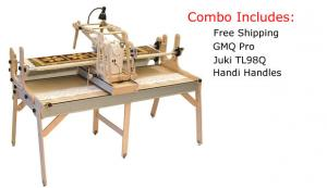 NEW Grace GMQ Pro  Frame Quilting Table, 4th Rail Batting, Juki TL 98Q Machine & 3 Way Handi Handles Control Box