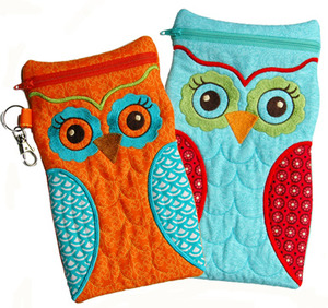 Embroidery, Garden, Large, Owl, Case
