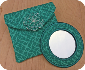 Embroidery, Garden, Quilted, Mirror, Set, case