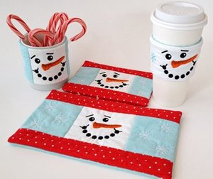 Embroidery Garden Snowman Beverage Set Embroidery Design on CD
