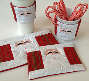 This set includes a Cup Cozy, 2 sizes of Mug Rugs and a Coffee Sleeve.
