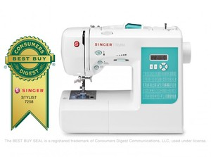 Singer, 7258, Stylist, Computerized, Sewing, Machine,Factory, Serviced, 100, stitch, auto, needle, threader, top, drop, bobbin, system, 1, step, buttonhole, award, winning
