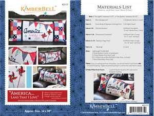 """Kimberbell KD177 """"America, Land that I Love"""" Bench Pillow Sewing Project Pattern"""