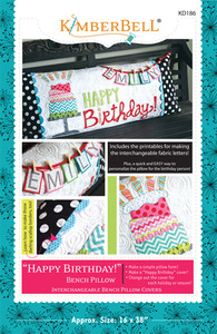Kimberbell, KD186, Happy, Birthday, Bench, Pillow, Sewing, Project