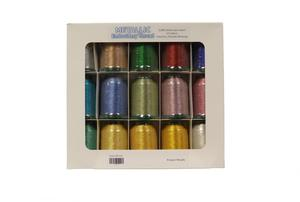Exquisite, MT1500, Metallic, 15, Color, 1100, Yard, 40, weight, Poly, Embroidery, Thread, Kit