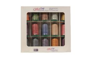Exquisite, MD1500, Medley, Variegated, 15, 1100, Yard, 40, weight, Poly, Cone, Thread, Kit