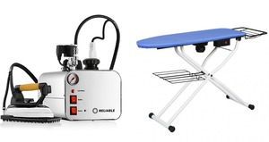 "reliable C81, reliable PA012/1, reliable, ps095/d, ps095d, i500/7, ironing board, combo, Vacuum Up-Air, Pressing Table,Reliable C81 Foot Pedal Vacuum & Blowing Ironing Board Table 49x16"" plus i500/7 2.5 Liter Iron & Steam Boiler, 4 Bar, 50 PSI, 110V COMBO Made in Italy"