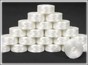 Nebs, PB131, Pre, wound, White, Polyester, Filament, Bobbin, Thread, Plastic, Drop, in, Brother, Machine