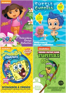 Brother SANICKKIT Nickelodeon Embroidery Designs DVD's: SANICKNT Ninja Turtles, SANICKSB Sponge Bob, SANICKBG Bubble Guppies, SANICKDE Dora Explorer