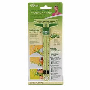 Clover Cl9585 Supersize 5-in-1 Sliding Gauge by Nancy Zieman, Use as a hem gauge, circle compass and T-gauge