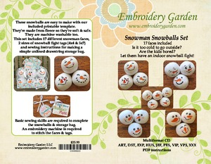 Embroidery, Garden, Snowman, Snowball, Set, fleece, full, set